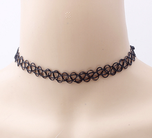 ZL4054 2017 New Hip Hop Gothic Tattoo choker Necklace Rubber Chain Stretch Black Necklace for Women