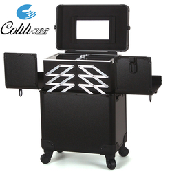 Black high quality makeup tool suitcase aluminum trolley box