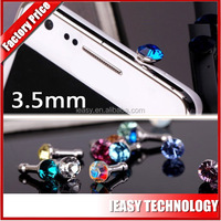 diamond dust plug for iphone 5 ear cap 3.5mm jack plug to usb cable