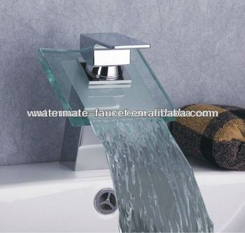 single handle glass waterfall basin faucet