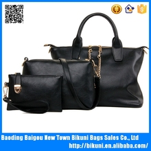 2016 New designer large stock cheap women hand bags there pieces soft black PU women bags set handbag crossbody bag for women