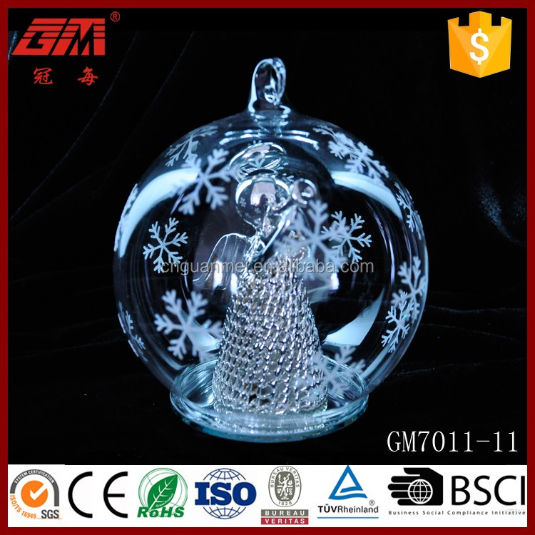 Baoying Top Quality Hand Blown LED Christmas Glass Snow Ball