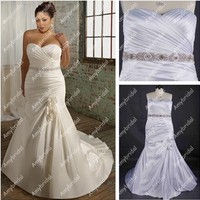 AM0791 Real picture cheap satin mermaid plus size wedding dress patterns