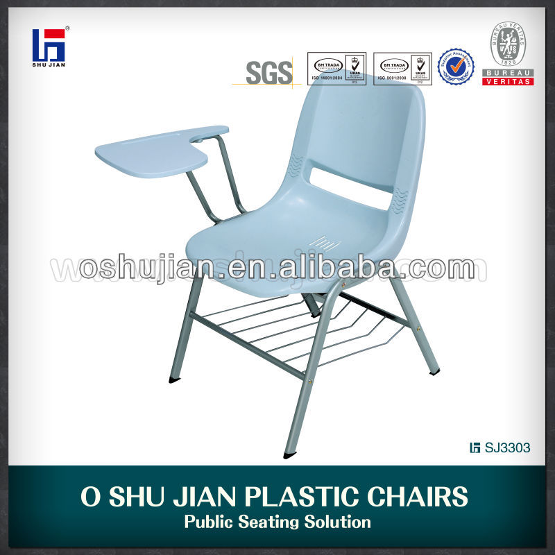 Plastic writing chair student chair with writing pad
