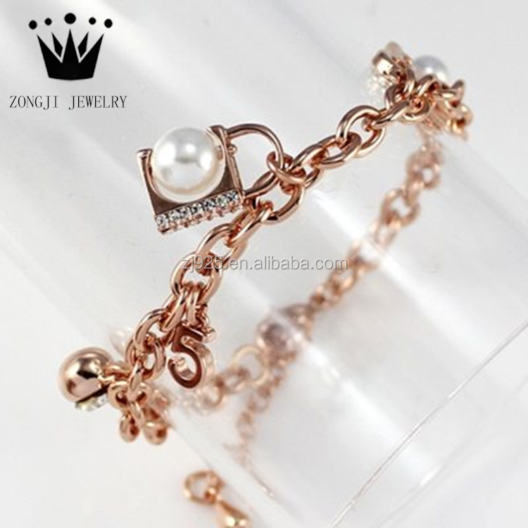 Fashion Design 925 Sterling Silver Jewelry Rose Gold Chain Bracelet With Pearls And Zircons For Engagement Occasion