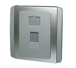 Slim Stylish 1-Port Shuttered Face Plate, 86 Type, Gloss Polycarbonate Finish, Grey Plate w. Sliver Surround