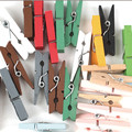 Assorted Colorful Wooden Paper Clips Decorative Wood Clothespins