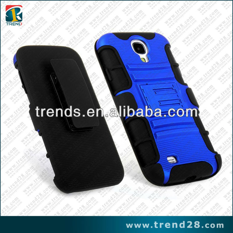 new arrival combo case holster design dual color pc+silicone case for samsung galaxy s4