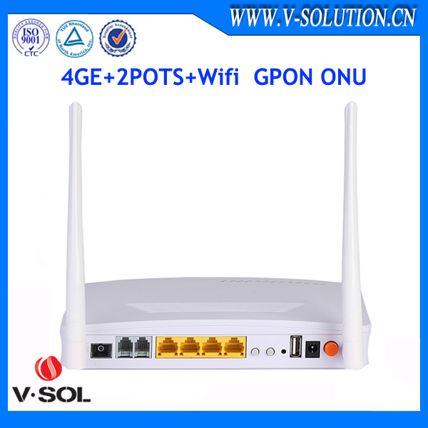 Fiber optic GPON ONT 4GE+2POTS+WiFi ONU GPON Wireless route