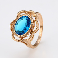 12417 New arrival elegant ladies jewelry single gemstone flower shaped finger ring for engagement