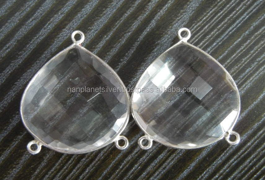 925 Sterling Silver Crystal Quartz Bezel Gemtone Connectors