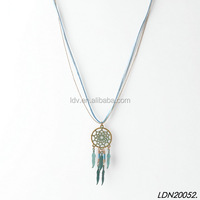 Fashion Layered Leather Dreamcatcher With Turquoise Leaf Necklace