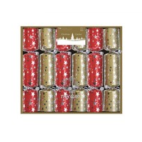 "Red and Gold Stars 6x8.5"" Mini Luxury Christmas Cracker"