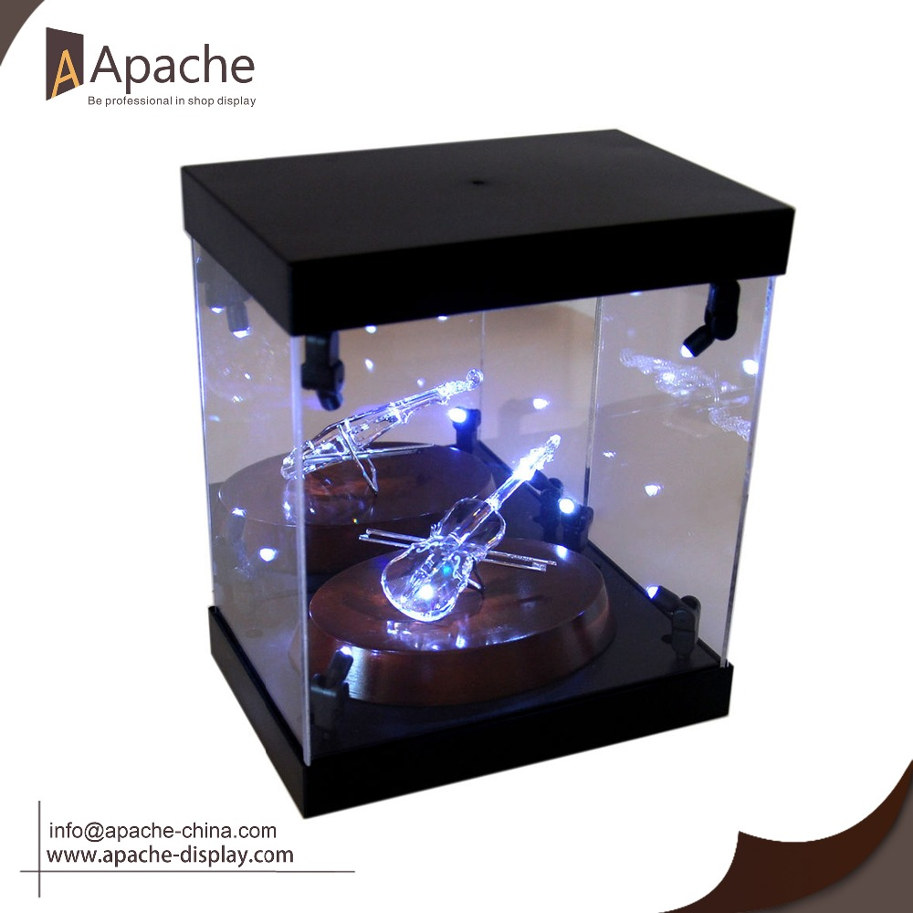 Acylic jewelry display showcase with light rotating/wood base and lock