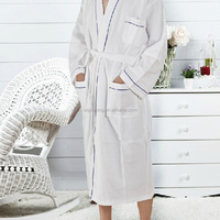 100%cotton embroidery waffle bathrobe super absorbent sauna robe