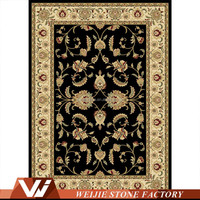 Central Oriental Persian Radiance Amelia Black Wheat Oriental Rug Marble Mosaic Pattern