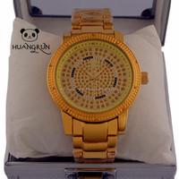 2014 Fahsion colorful geneva yellow diamond gold watch