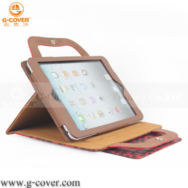 Leopard stand leather handle case for ipad Mini