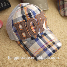 Checked design baseball cap with ripped visor,3D embroidery front and mesh back