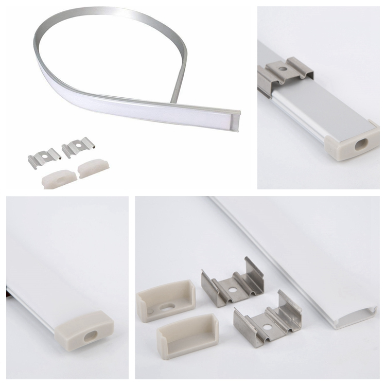 Surface Mounted Aluminium Profile//Extrusion With Cover Pack of 5-Free Postage