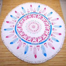 China Manufacturer Supply 100% cotton Reactive Printing Round Beach Towel With Tassels circle beach towel