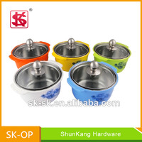 Colorful stainless steel mini hot pot casserole set with plastic outer hot pot for food storage