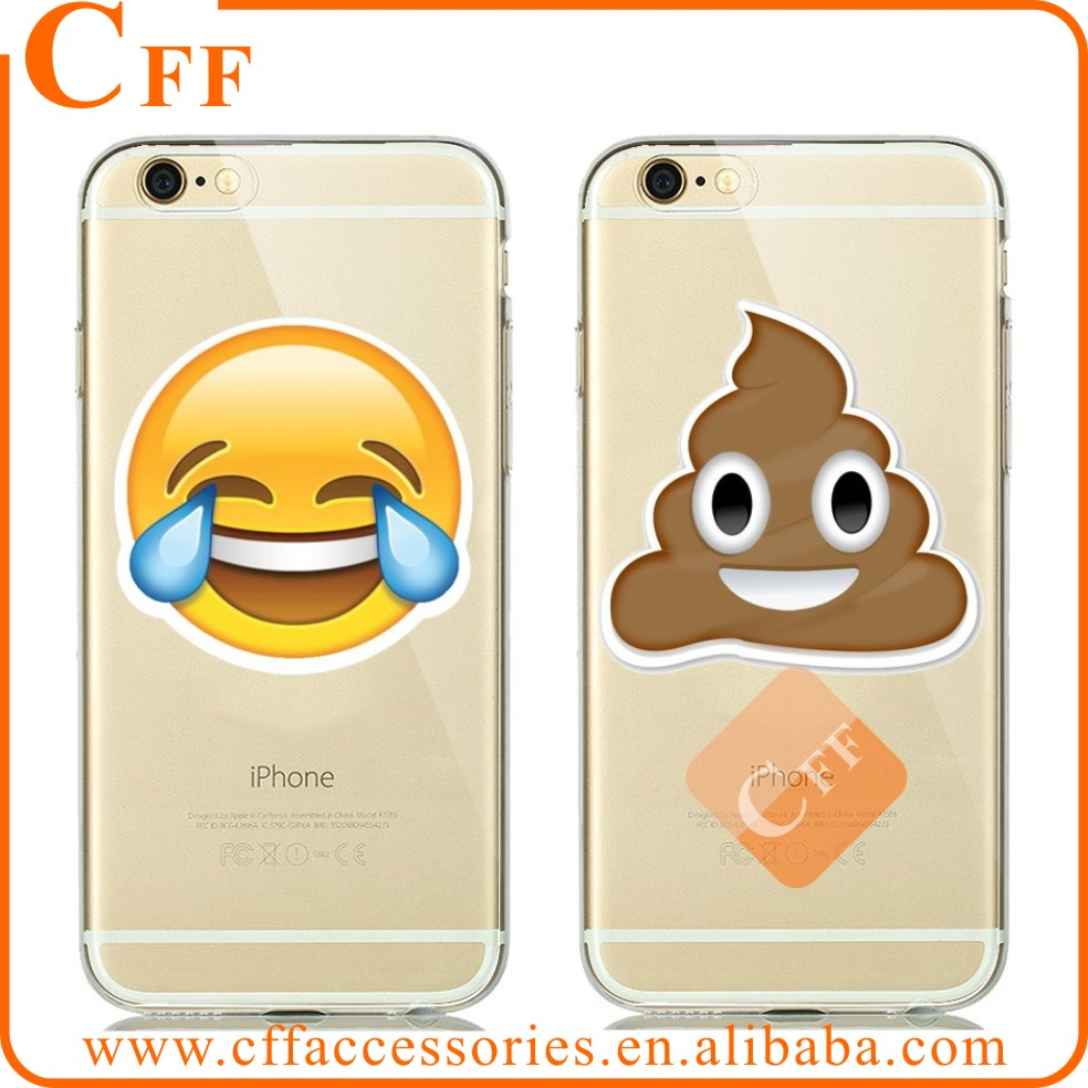Ultra Thin Clear Silicone TPU Case For Apple iPhone 5 5s 6 6s 6plus SE Holster lovely Smile Tongue Emoji Cases Capa