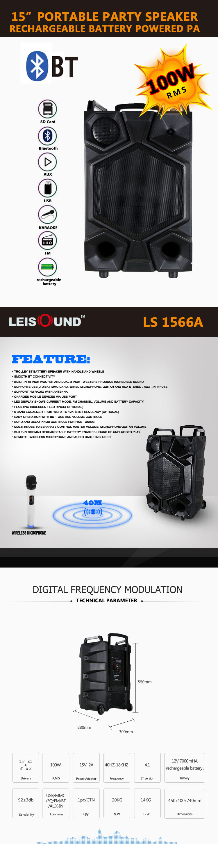 "12""/15"" Active PA trolley speaker with wireless microphone rms power 100W PMPO power 1000w"