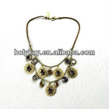 Unique design vintage metal charms black rope necklace, bestselling Christmas gift 2012
