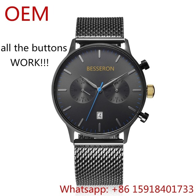 multifunction luxury watch oem chronograph men watch 2018 trend product double dial watches customized