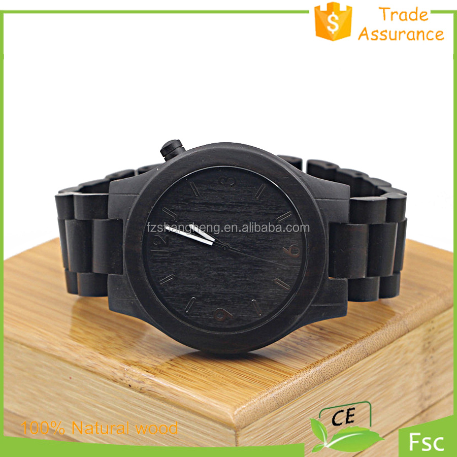2015 New Arrival Big Face Man High Quality Ebony Wood Watch Wholesale