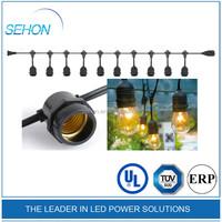 Patio led string lights 54ft 24 Sockets E27 Commercial led string light black wire