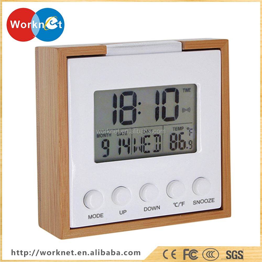 square digital LED bamboo wooden desktop alarm clock with date temperature display
