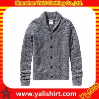 2015 custom high quality comfortable cotton blank fashion mens thick cardigan winter sweater