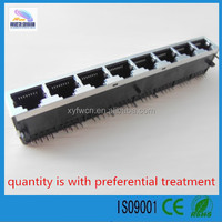 China manufacturer 90 degree RJ45 1*8 connector without electric filter