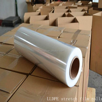 China wholesale price pallet wrap plastic hand machine jumbo clear 23 micron LLDPE stretch film rolls