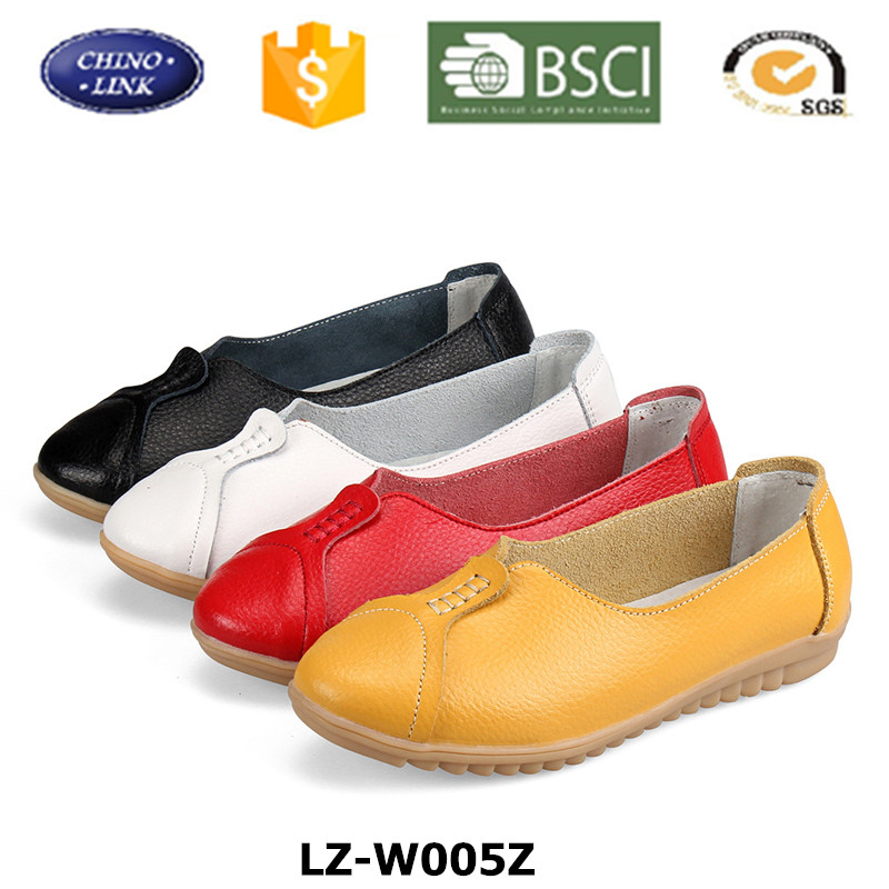 Stock Lot Cheap Joker Genuine Leather Rubber Sole Women Shoes Moccasins Loafer Soft Elegant Flat Lady Driving Casual Footwear