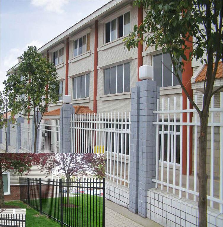 White galvanized models wrought iron fence used ornamental