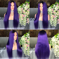 Popular style purple colored brazilian 100% human hair lace front wigs silky straight preplucked hairline