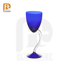 Handcrafted Colored Long Swirl Stem Wine Glass