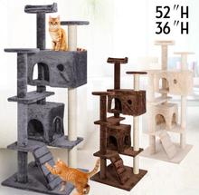 "36"" 52"" Cat Tree Tower Condo Play House Pet Scratch Post Kitten Furniture"