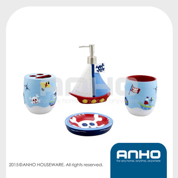 Colorful cartoon children corsair series pirate resin sanitary ware set