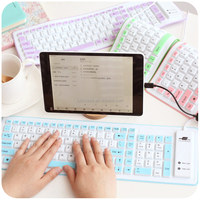 Universal remote control folding portable water-proof wireless smart silicone bluetooth keyboard for PC laptop, tablet, ipad