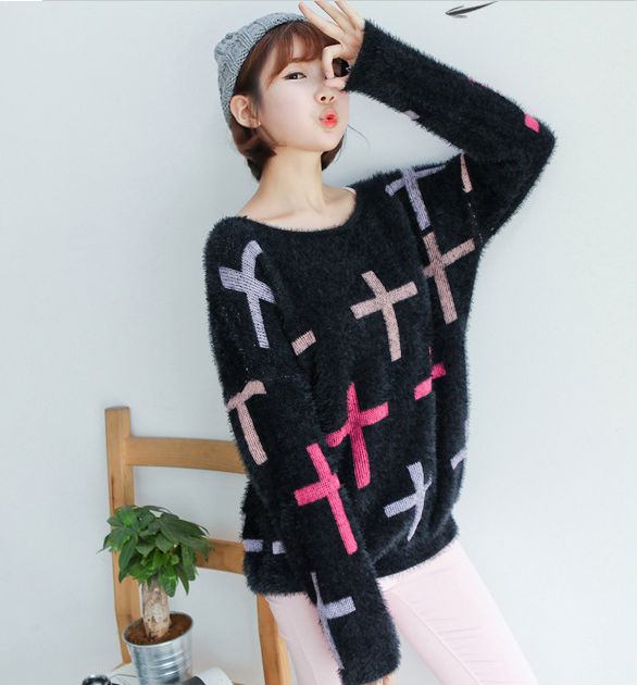 M30832A Korean design knitted pop pullover sweater