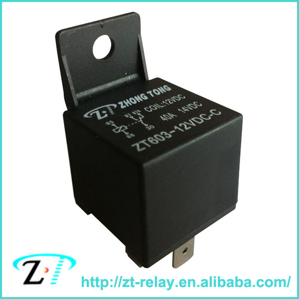 ZT603 12v 24v 4pin 5pin 30a 40a 60a 80a auto relay Car Relay, black cover auto flasher relay