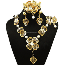 2017 artificial set jewellery, african fashion gold plated hot sale lovely heart shape jewelry sets for women BJ583