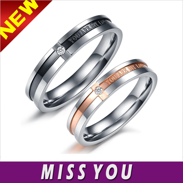 New Style Jewelry You Are My Love Crystal Stainless Steel Zircon Ring Jewelry