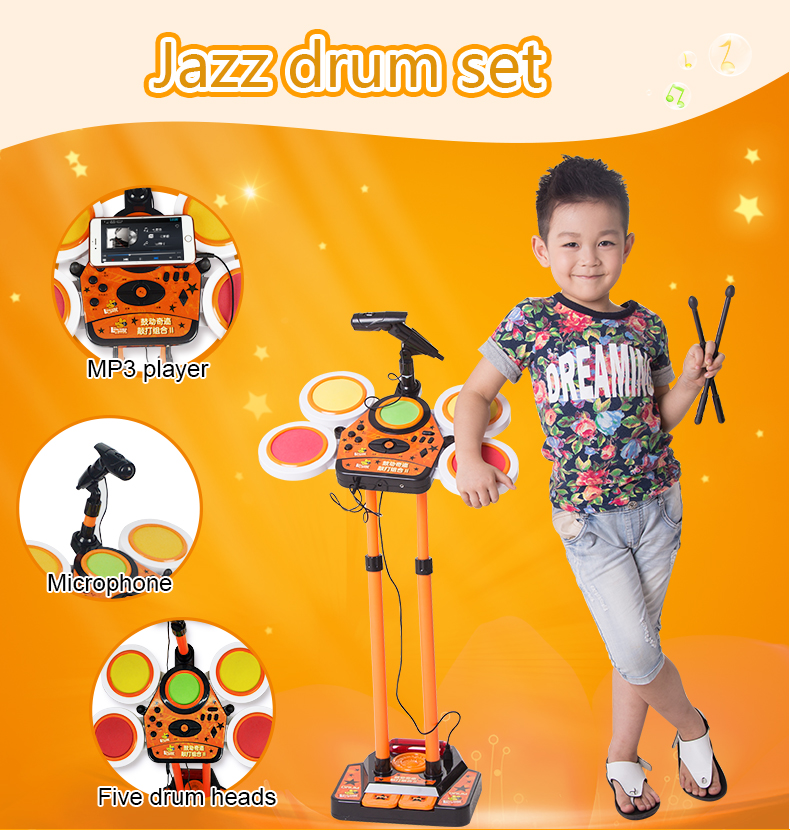 plastic musical instrument jazz drum set toy for kids