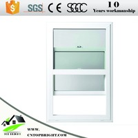 UPVC single hung windows with grill design PVC vertical sliding window