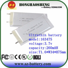 Extreme energy battery flat lithium polymer battery 3.7v 260mah lipo batteries 163475